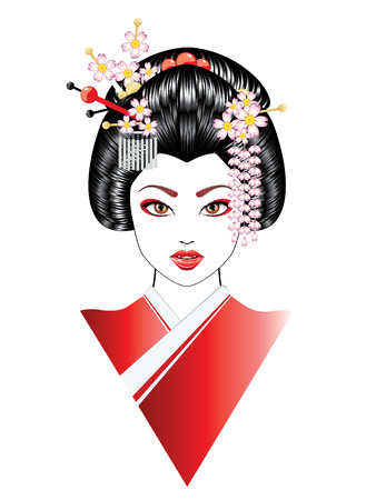 Cartoon oriental girl with black hair, asian hairstyle.