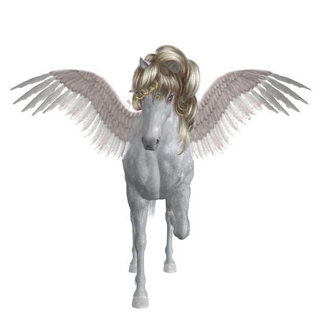 Mythical animal, white Unicorn 3d illustration with digitally drawn additional mane.