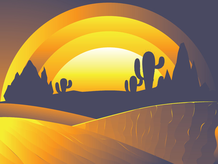 Sunset in the desert landscape with cacti and distant rocks silhouettes. Illustration