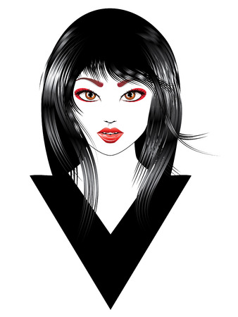 Cartoon oriental girl with black hair, asian hairstyle.