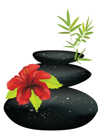 Zen stones heap with bamboo leaves and flower on white background. 일러스트