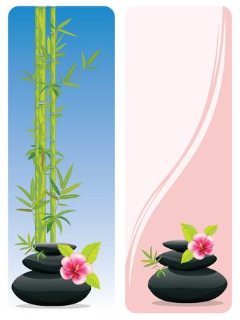 Tas de galets noirs, tas de pierres zen avec des bannières de fleurs et de bambou sur fond blanc.
