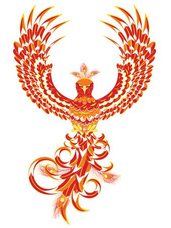 Stylized firebird, fantasy phoenix bird spreading wings.