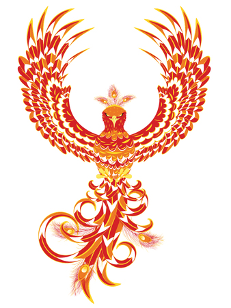 Stylized firebird, fantasy phoenix bird spreading wings.