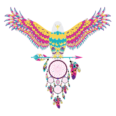 Stylized bald eagle with decorative dream catcher illustration.