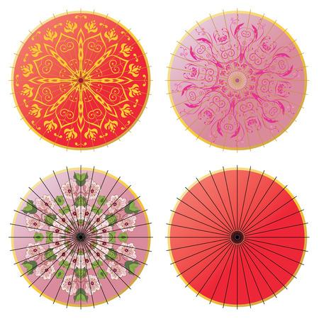Collection of decorative oriental umbrella on white background. Vettoriali