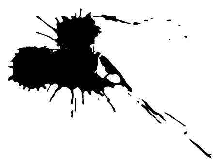 Drop black ink blot isolated on white background. Vector Illustratie