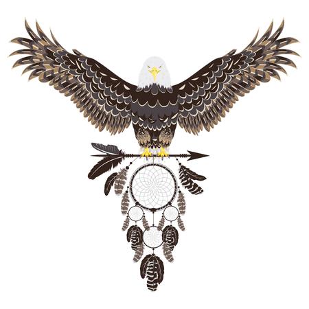 Águila calva estilizada con ilustración decorativa de atrapasueños.