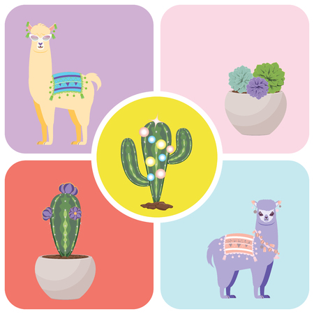 Cute cartoon Llama and Alpaca, greeting card design. Illustration