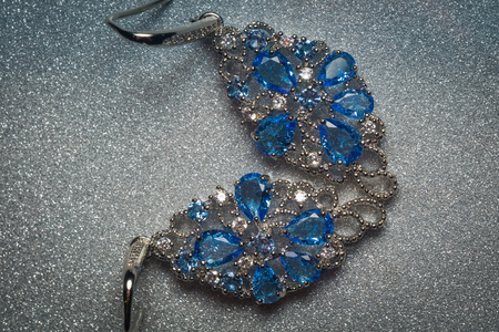 Fashion silver earrings with blue violet stone, tanzanite imitation.