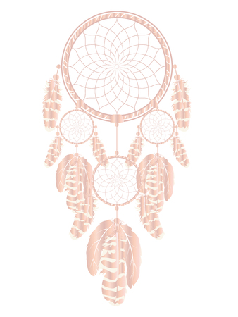 Decorative dreamcatcher rose gold color illustration design.