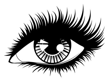 Mode vrouwelijk oog met lange wimpers in zwart-wit design.