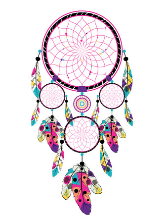 Decorative native dream catcher with colorful stylized feathers.