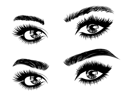 Female eyes with long eyelashes and brows before and after correction in black and white. Vektorové ilustrace