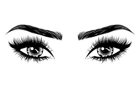 Ojos femeninos con pestañas largas y negras y cejas gruesas sobre fondo blanco.