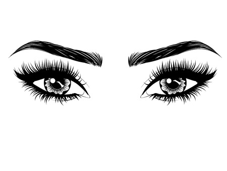 Weibliche Augen mit langen schwarzen Wimpern und dicken Brauen auf weißem Hintergrund.