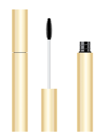 Beauty products yellow gold mascara tube and brush set.