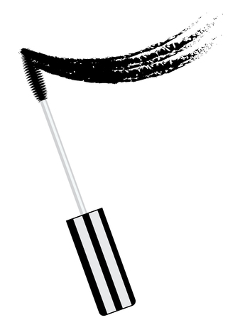 Beauty products black mascara brush and smear set.