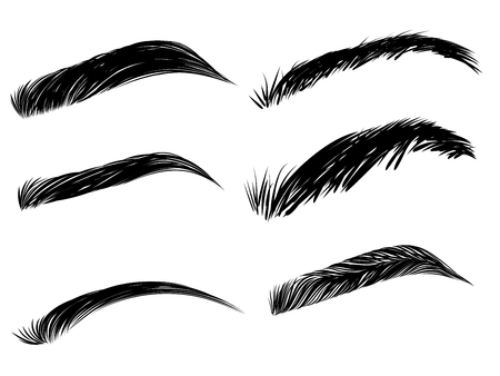 Collection of black detailed eyebrows on white background.