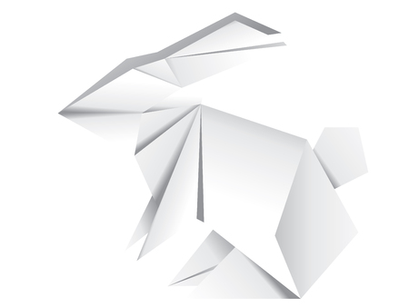 Abstract origami bunny made of white folded paper illustration.