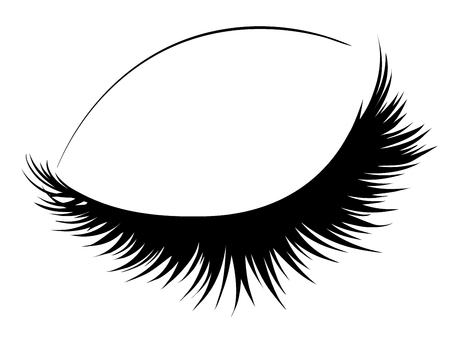 Line art of closed eye with long eyelashes design.
