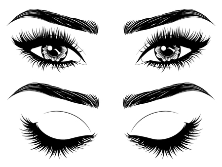 Ojos femeninos con pestañas largas y negras y cejas gruesas sobre fondo blanco. Ilustración de vector