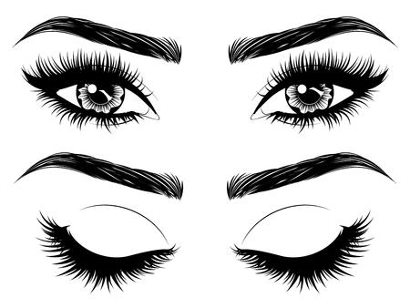 Vrouwelijke ogen met lange zwarte wimpers en dikke wenkbrauwen op witte achtergrond. Vector Illustratie