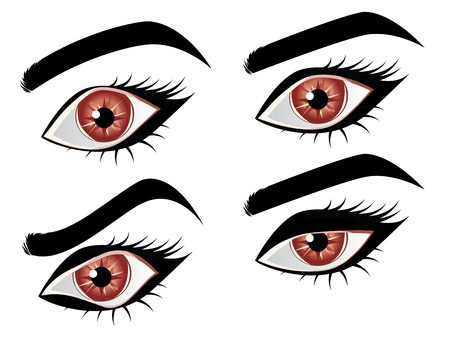 Stylized cartoon brown eye in different expressions set. Vectores