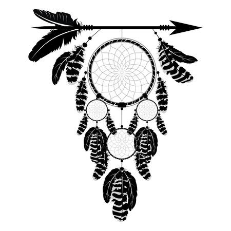 Boho style arrow with dream catcher, stylized native american design. Illustration