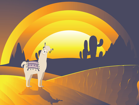 Cute cartoon Llama with cactuses design background.
