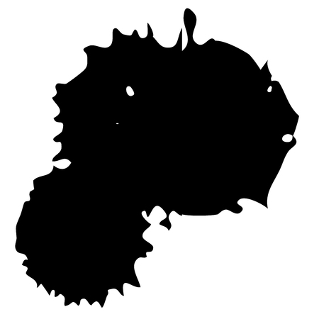 Drop black ink blot isolated on white background.