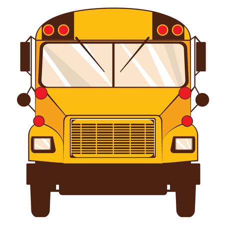Flat style classic yellow school bus illustration.