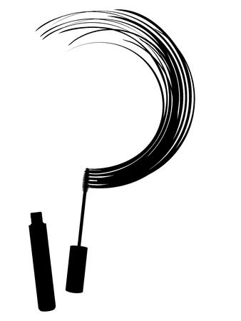 Beauty products black mascara brush and smear set.