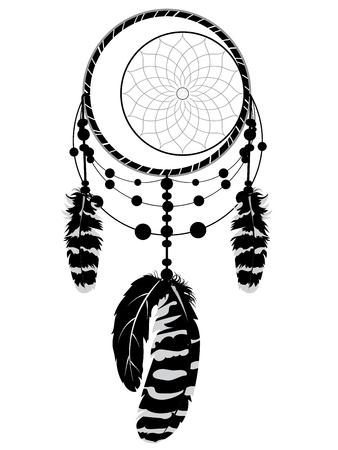 Decorative stylized dreamcatcher in black and white illustration.