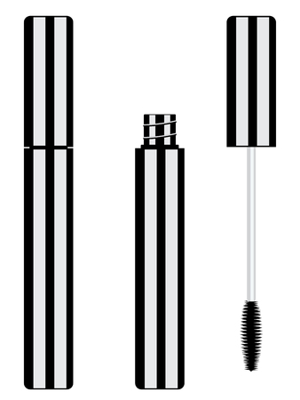 Beauty products black mascara tube and brush set.