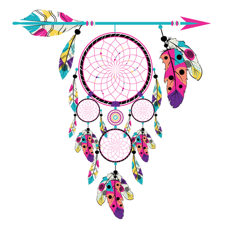 Flecha de estilo boho con atrapasueños, estilizado diseño nativo americano. Ilustración de vector