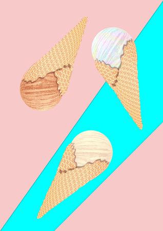 Abstract stylized ice cream cones illustration design.