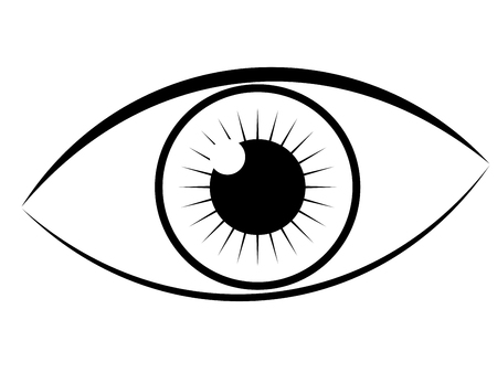 Human eye in simple black and white, line art style. Illustration