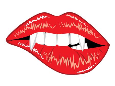 Lèvres de vampire souriant rouge avec des crocs sur fond blanc.