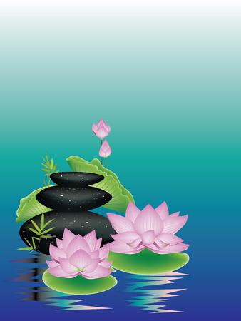 Black pebbles pile, zen stones heap and purple lotus flower background.