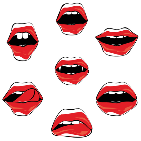 Fashion women lips in different expression collection, party props.