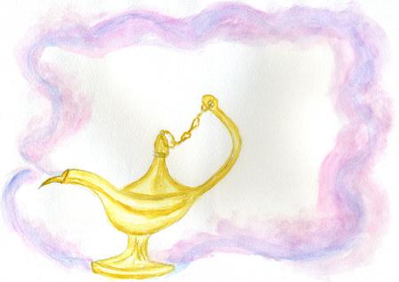 Retro style golden metal oil lamp hand drawn watercolor illustration. Stock Photo