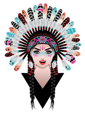 Native american woman wearing war bonnet, tribal portrait design.