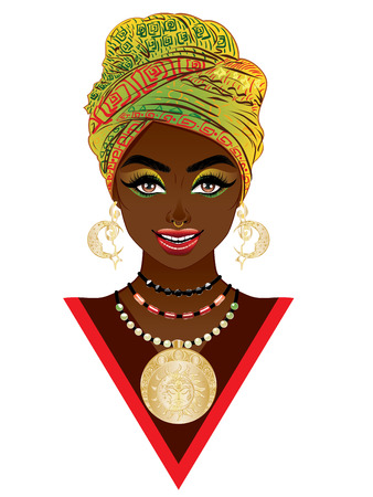Young african woman wears fashion turban with tribal ornaments. Ilustracja