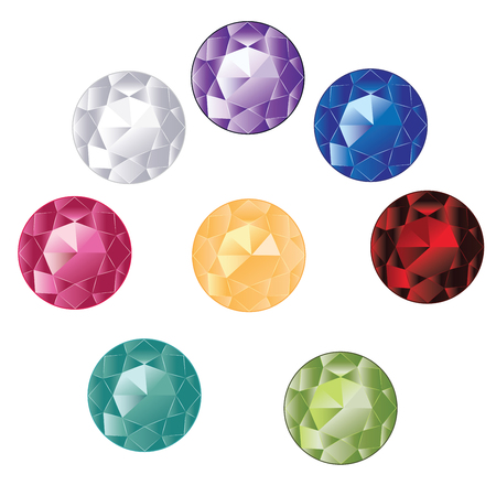 Precious different colors and shapes gemstones, crystals, diamonds collection.
