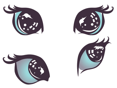 Cartoon stylized cat eyes of blue color with lashes.