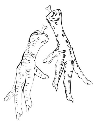 Ilustración de patas de pollo de grunge en blanco y negro. Ilustración de vector