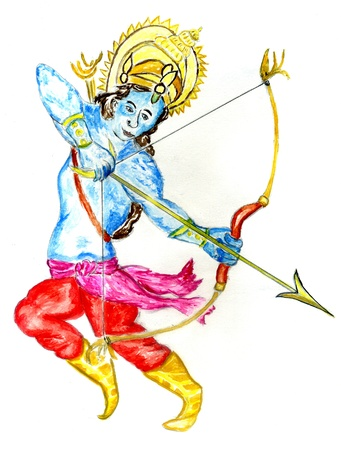 Blue skinned Krishna with bow and arrow painted in watercolors.