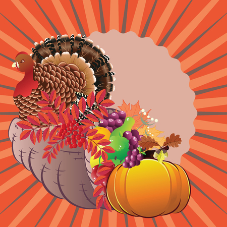 Traditional Thanksgiving horn of plenty, cornucopia and turkey cartoon illustration. Foto de archivo - 126854935