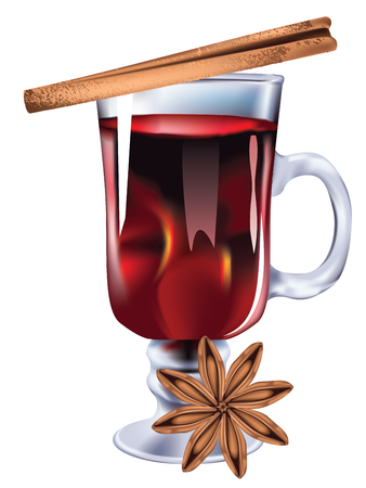 Hot winter drink, mulled wine glass design illustration.